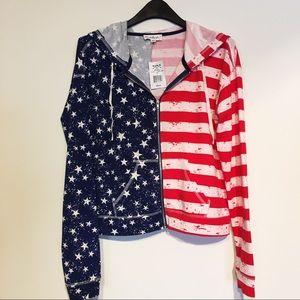 Cloud Chaser American Flag Full zip Hoodie Lg